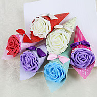 Favor Holders Wedding Bouquet Shaped Bow Lovely Pattern Kraft Candy Boxes With Rhinestone Set Of 12(More Colors)