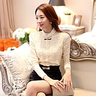 Women's Lace Beige Shirt , Stand Long Sleeve Lace/Bow