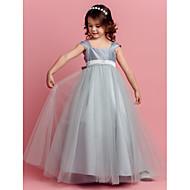 Ball Gown Floor-length Flower Girl Dress - Taffeta / Tulle Square with Bow(s) / Sash / Ribbon