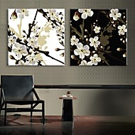 e-Home® uitgerekt geleid canvas kunst de pruimenbloesem flash effect LED set van 2