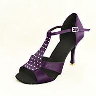 Customizable Women's Dance Shoes Latin/Ballroom Satin Stiletto Heel Fuchsia