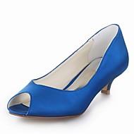 Women's Summer Heels / Peep Toe Satin Wedding Kitten Heel Black / Blue / Yellow / Pink / Purple / Red / Ivory / White / Silver / Champagne