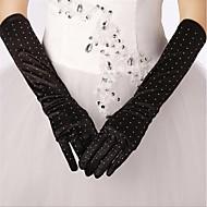 Elbow Length Fingertips Glove Satin/Polyester Bridal Gloves