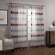 Modern Two Panels Novelty Red Bedroom Polyester Sheer Curtains Shades