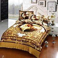 Bettbezug-Set, 4 Stück Anzug Twill 100% Baumwolle 3d Ölgemälde Bettwäsche-Sets Bettwäsche Bettwäsche Plansätze
