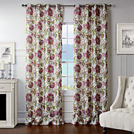 Two Panels  Dreamlike Light Pink Floral Curtain