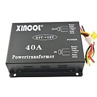 xincol® veículo carro dc 24v para 12v 40a conversor transformador de alimentação com ventilador regulamentação-negro