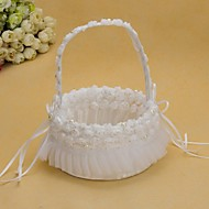 Pretty Wedding Flower Basket With White Organza Rose Flower Girl Basket