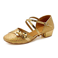 Non Customizable Kids' Dance Shoes Modern Paillette Chunky Heel Silver/Gold