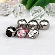 1Pair 6mm Ball-Shaped Stainless Steel With Rhinestone Earrings  (Random Colors)