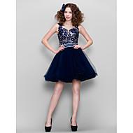 TS Couture Fiesta de Cóctel Baile de Promoción Vestido - Transparente Salón Joya Corta / Mini Encaje Tul conCuentas Detalles de Cristal