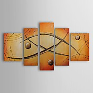 Oil Painting Modern Abstract Orbs Jump Rope Set of 5 Hand Painted Canvas with Stretched Frame