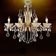 ouro de alta qualidade de ferro forjado de cristal lustre 6 luzes