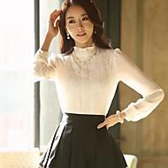 Women's Solid White/Black Shirt , Ruff Collar Long Sleeve