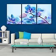 E-Home® Leinwandkunst blauen Blumen Dekoration Malerei Set von 3