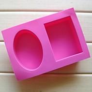 2 buracos moldes forma quadrada elipse bolo de chocolate, silicone 18 × 12,2 × 3,8 cm (7,1 × 4,8 × 1,5 polegadas)