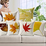 Set of 6 Autumn Leaves Cotton/Linen Decorative Pillow Covers