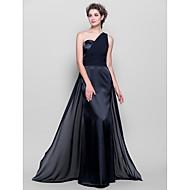 Lanting Floor-length Chiffon / Stretch Satin Bridesmaid Dress - Black Plus Sizes / Petite Sheath/Column One Shoulder