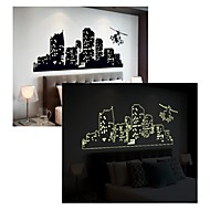 Luminous Wall Stickers Wall Decals, Style Many-Storied Buildings PVC Wall Stickers