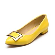 Women's Spring / Summer / Fall Pointed Toe Leather Dress Chunky Heel Black / Yellow / Pink / Beige