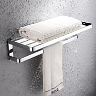 HPB®,Towel Bar / Bathroom Shelf Chrome Wall Mounted 67*27*20cm(26.8*10.8*8inch) Brass Contemporary