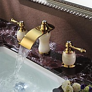 Art Deco/Retro Widespread Waterfall with  Ceramic Valve Two Handles Three Holes for  Ti-PVD , Bathroom Sink Faucet