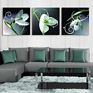 e-FOYER étiré conduit impression sur toile art effet flash de fleurs led verte clignotante ensemble de trois d'impression de fibre optique