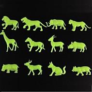 벽 스틱 벽 데칼, 동물 스타일 야광운 장식 PVC 벽 스티커 (12 개)