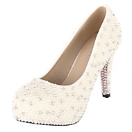 Women's Spring / Summer / Fall Heels / Platform / Round Toe Leather Wedding Stiletto Heel Rhinestone / Imitation Pearl Ivory