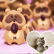 5 peças cortadores de biscoito forma guaxinim dos desenhos animados criados, aço inoxidável