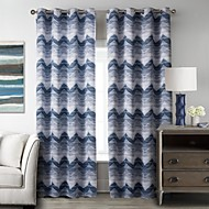 European One Panel Stripe Blue Bedroom Polyester Blackout Curtains Drapes