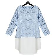 Enfärgad Trekvartsärm Skjorta Kvinnors Chiffong / Spets