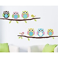 Wall Stickers Wall Decals, Cartoon Blue Owl on The Branch PVC Wall Sticker