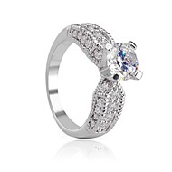 Classic Brand White Gold Plated Bride Wedding/Engagement Rings Swiss AAA CZ Prong-Set Rings