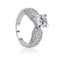 klasika od značky bílého pozlacený nevěsta svatební / zásnubní prsteny švýcarské aaa cz vidle nastavené kroužky