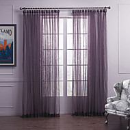 Modern Two Panels Solid Purple Bedroom Polyester Sheer Curtains Shades