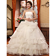 Ball Gown Wedding Dress Floor-length Strapless Organza with Appliques / Beading / Flower