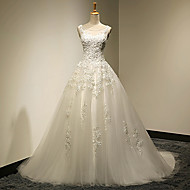 Ball Gown Plus Sizes / Petite Wedding Dress - Chic & Modern Vintage Inspired Sweep / Brush Train Scoop Lace / Tulle withAppliques /