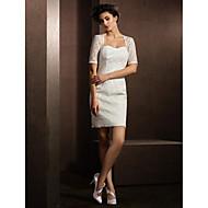 Sheath/Column Wedding Dress - Ivory Short/Mini Queen Anne Lace
