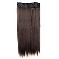 24 pouces 120g longue perruque synthétique pince droite en extensions de cheveux avec 5 clips