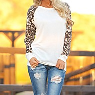Women's Round Neck T-shirt with Leopard Print Chiffon Long Sleeves
