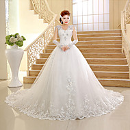 Ball Gown Wedding Dress Chapel Train V-neck Lace/Tulle