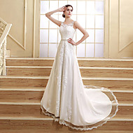 A-line Wedding Dress - Elegant & Luxurious Lacy Look Court Train Jewel Satin Tulle with Appliques Beading