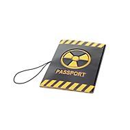 de protección de pvc pasaporte cubierta del soporte - negro + amarillo