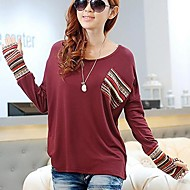 Women's Round Collar Print Contrast Color T-Shirt(More Colors)