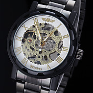 WINNER® Men's Manual Mechanical Hollow Skeleton Gold Face Black Steel Band Wrist Watch (Assorted Colors) Cool Watch Unique Watch