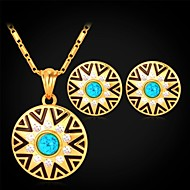 U7® Turquoise Stone 18K Real Gold Plated Rhinestone Circular Stud Earrings Pendant Necklace Fashion Jewelry Set