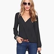 Camisa (Chifon/Poliéster/Misturas de algodão) Casual - Fina - Longas