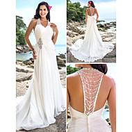 Lanting Bride® Sheath / Column Petite / Plus Sizes Wedding Dress - Chic & Modern / Elegant & Luxurious Open Back Chapel Train V-neck