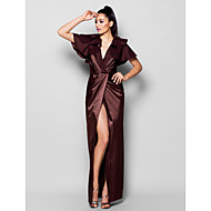 TS Couture® Formal Evening Dress - Chocolate Plus Sizes / Petite Sheath/Column V-neck Floor-length Stretch Satin